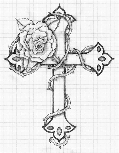 Step-by-Step Drawings: 23.6.13 ~ Drawing of a Cross & Rose