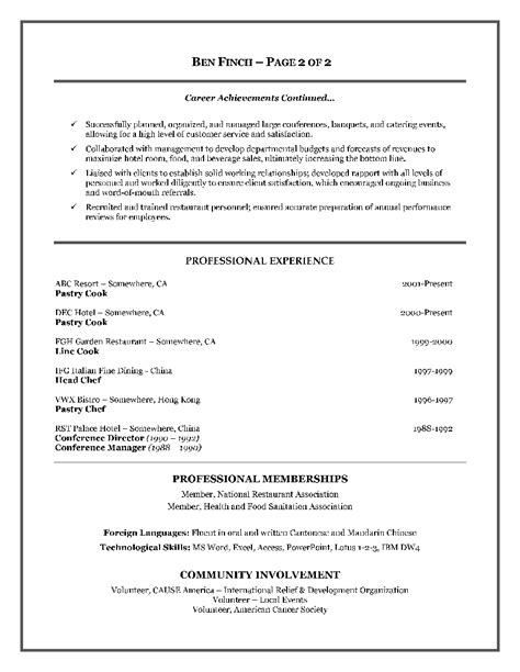 chef resume sles exle of cook resume format ms word