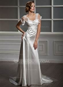 a line princess sweetheart watteau train charmeuse tulle With charmeuse wedding dress