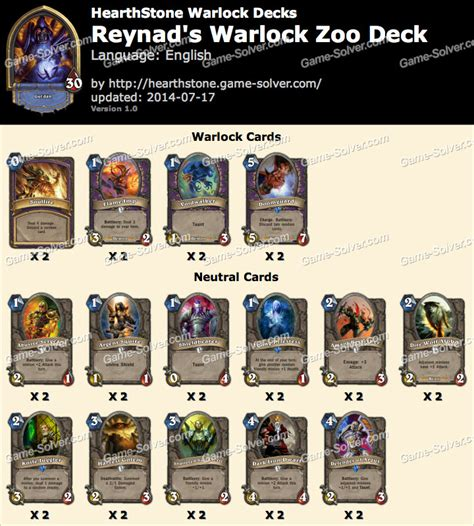 Warlock Zoo Deck August 2017 by Reynad Warlock Zoo Deck