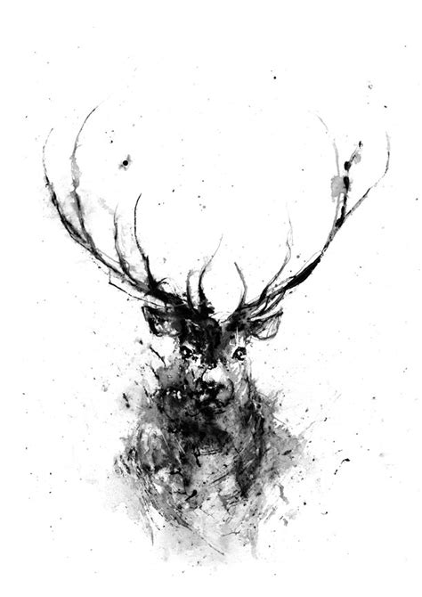 Deer Head Animal Art Print Black White