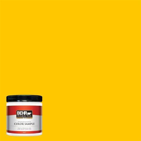behr premium plus 8 oz 370b 7 yellow flash flat interior exterior paint and primer in one