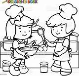 Coloring Cooking Kitchen Children Vector Outline Apron Illustration Boy Bakery Baking Cartoon Mother Istockphoto Having sketch template