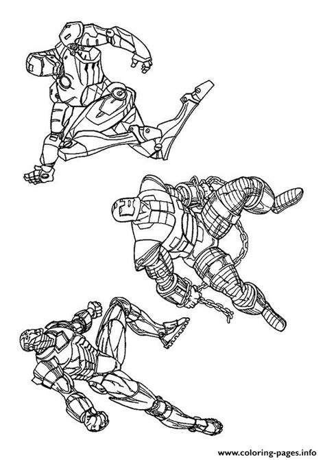 three iron men a4 avengers marvel coloring pages printable