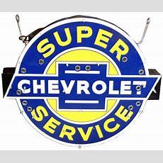 Super Service Chevrolet Porcelain Neon Sign