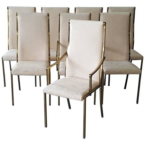 set of eight regency mastercraft brass dining chairs at