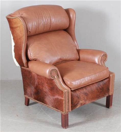 western style brown leather and cowhide recliner with nailhe