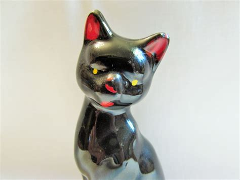 vintage redware black cat figurine