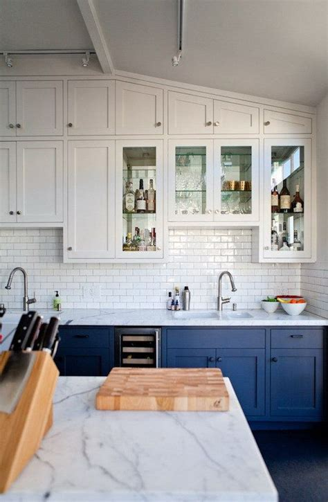 white and navy kitchen cabinets stylish two tone kitchen cabinets for your inspiration