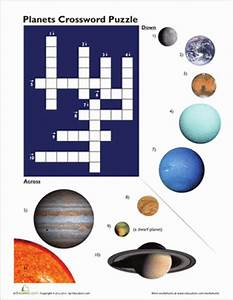 Planet Pictures Crossword | Worksheet | Education.com