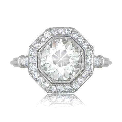 ct octagon halo engagement ring estate diamond jewelry