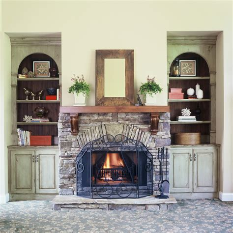 Decorating Ideas Next To Fireplace by Pretty Mantel Shelves In Living Room Farmhouse With Patio