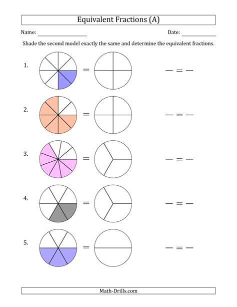 Equivalent Fractions Models With The Simplified Fraction Second (a) Fractions Worksheet