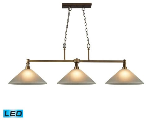 antique brass pool table light three light brushed antique brass pool table light