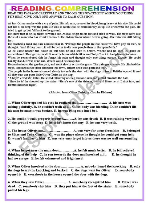 esl reading comprehension worksheets  adults db excelcom