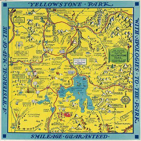souvenir tourist map  yellowstone park wyoming