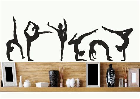 Gymnastics Girls Silhouettes Set Of Six / Wall Art Vinyl Decal