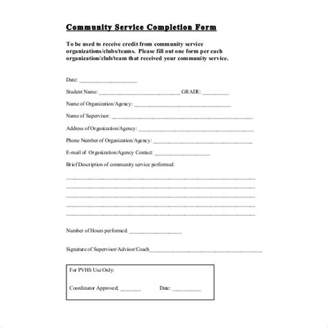 sample community service forms sample forms