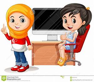 Two Girls Working On Computer Stock Illustration ...