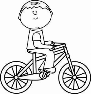 Black and White Boy Riding a Bicycle Clip Art - Black and ...