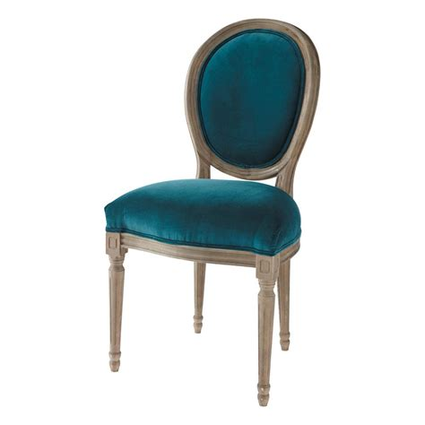 velvet and solid oak medallion chair in peacock blue louis