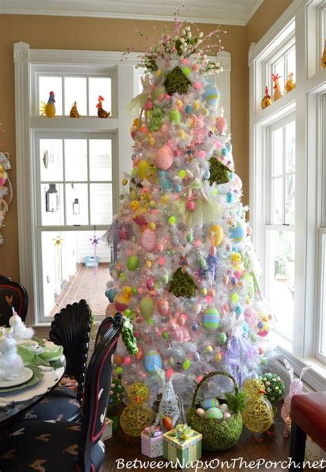 spring easter table setting  easter spring tree