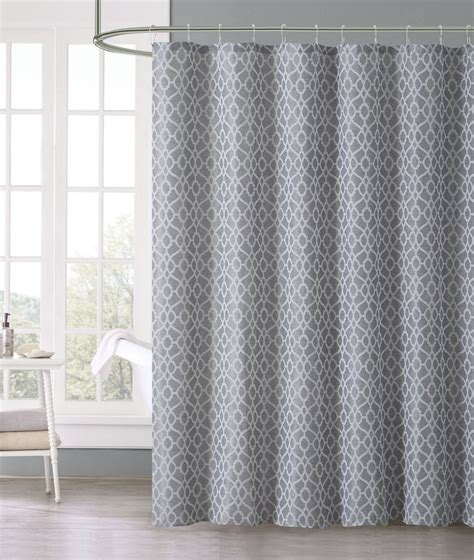 Silver Gray Jacquard Geometric Fabric Shower Curtain