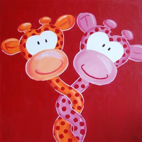 schilderij verliefde giraffe leuk voor op de
