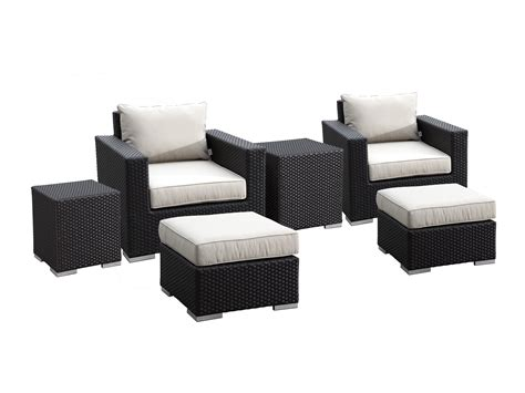 sunset west solana wicker club chairs ottomans  nesting