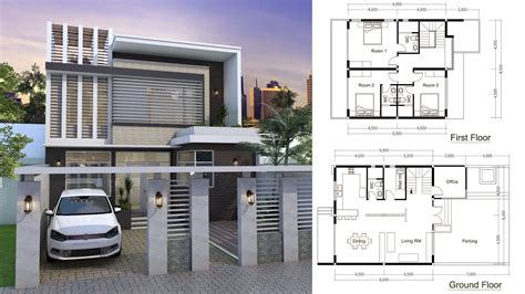 Sketchup Modern Home Plan 9x9m