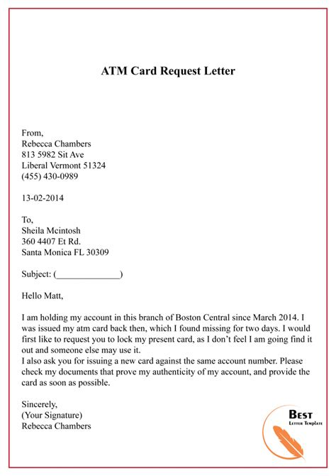 sample request letter template  bank