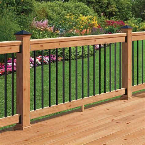 Banisters And Railings Home Depot - deckorail western cedar 6 ft railing kit with black