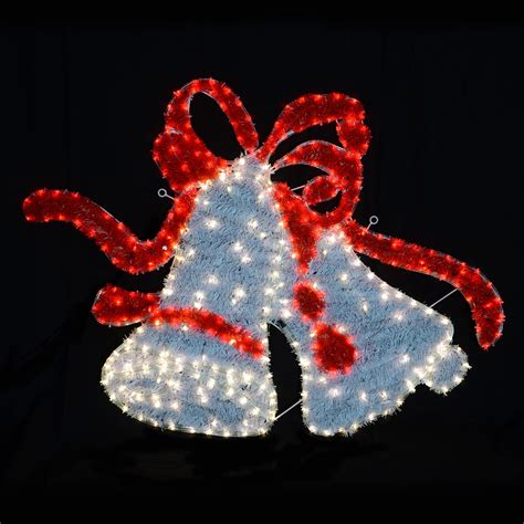 lighted christmas bells windows largewhite red twinkle led lights twin bell