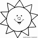 Sun Coloring Treehut Printable Smiling sketch template