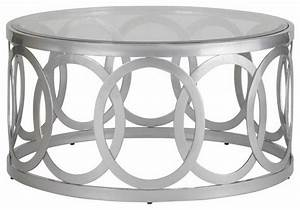 Allan copley designs alchemy 38 inch round cocktail table for Round glass silver coffee table