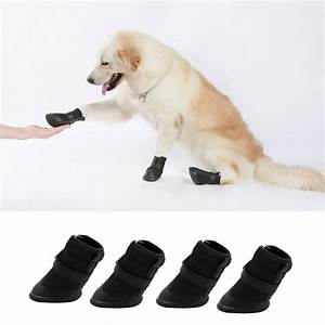 4pcs black waterproof dog shoes cute boots shoes for pets With how to make dog shoes