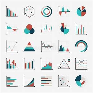 Charts Diagrams And Graphs Flat Icons Stock Vector