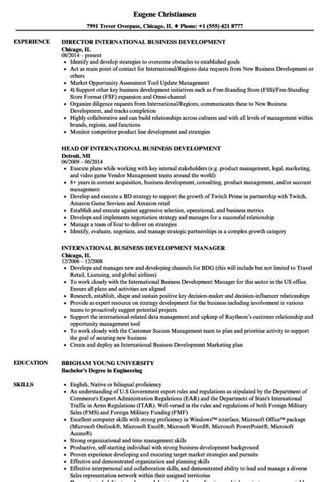 Business Development Resumes by International Business Development Resume Sles Velvet