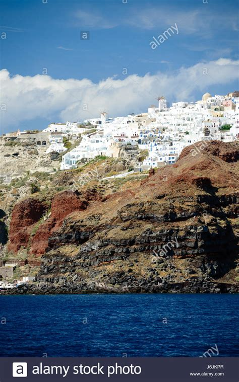 Village Oia View From The Sea Santorini Greece Stock