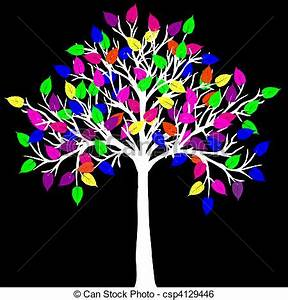 Stock Illustration of White tree with neon colored leaves