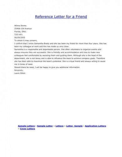 personal reference letter examples   ms word