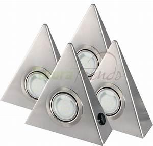 Küchenleuchten Unterbau Led : 4er set led 2 5w dreieckleuchte unterbau k che edelstahl mit zentralschalter ebay ~ Buech-reservation.com Haus und Dekorationen