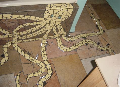 How I created a recycled tile mosaic octopus using broken