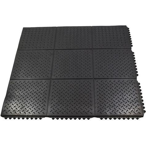 rubber floor mat durable anti fatigue interlocking solid 37 in