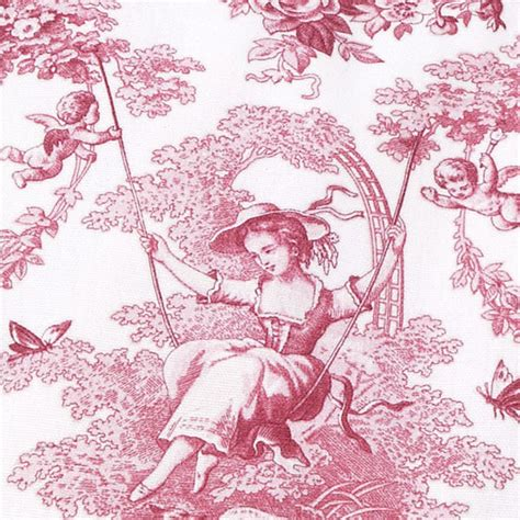Linen «toile De Jouy» Red Cushion  Les Brodeuses Parisiennes