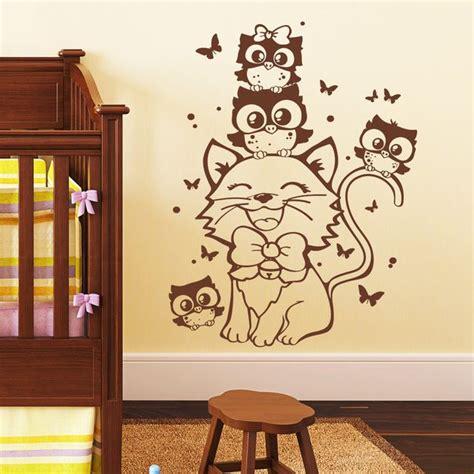 Wandtattoo Kinderzimmer Katze by Wandtattoo Katze Mit Eulen Babyzimmer