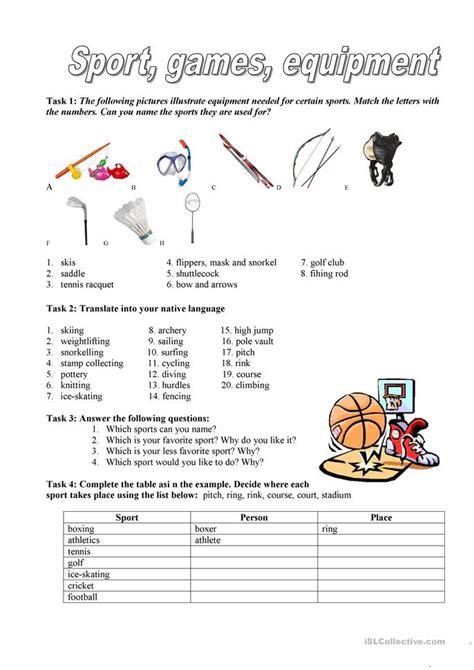 Sport, Games, Equipment Worksheet  Free Esl Printable Worksheets Made By Teachers