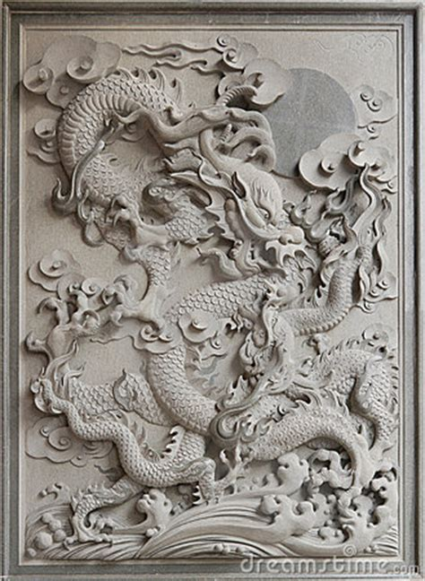 chinese dragon granite stone carving royalty  stock