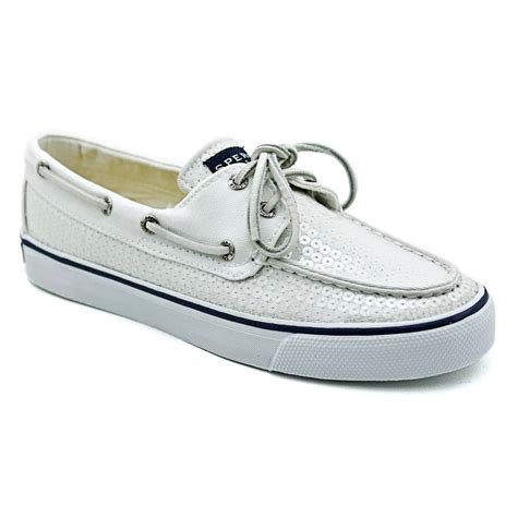 White Sperry Boat Shoes by Sperry Womens Bahama 2 Eye Boat Shoes White Textile