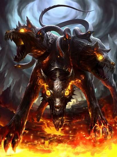 Dark Fantasy Cerberus Creatures Cryptids Legend Concept
